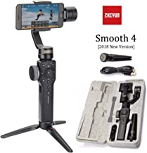 Zhiyun Smooth 4 3-Axis Handheld Gimbal Stabilizer w/Focus Pull & Zoom for Smartphone Like iPhone Xs X 8 7 Plus Android Samsung S9(Black Smooth 4)