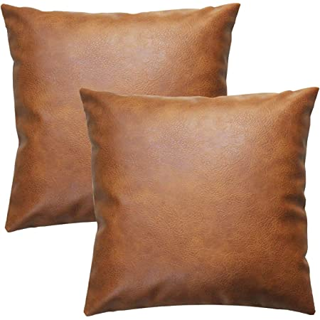 Mustard color rustic old pattern soft faux leather fabric pillow cover-1QTY