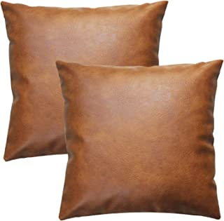 JOJUSIS Modern Leather Throw Pillow Covers for Couch Sofa Bed Set of 2 16 x 16 Inch 100% Faux Leather