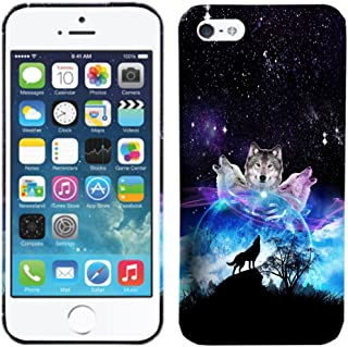 Glisten - Designer Hard Plastic Case for iPhone SE / 5 / 5S - Space Galaxy Wolf Face Hard Plastic Back Cover. Slim Profile Cute Printed Designer Snap on Case by Glisten