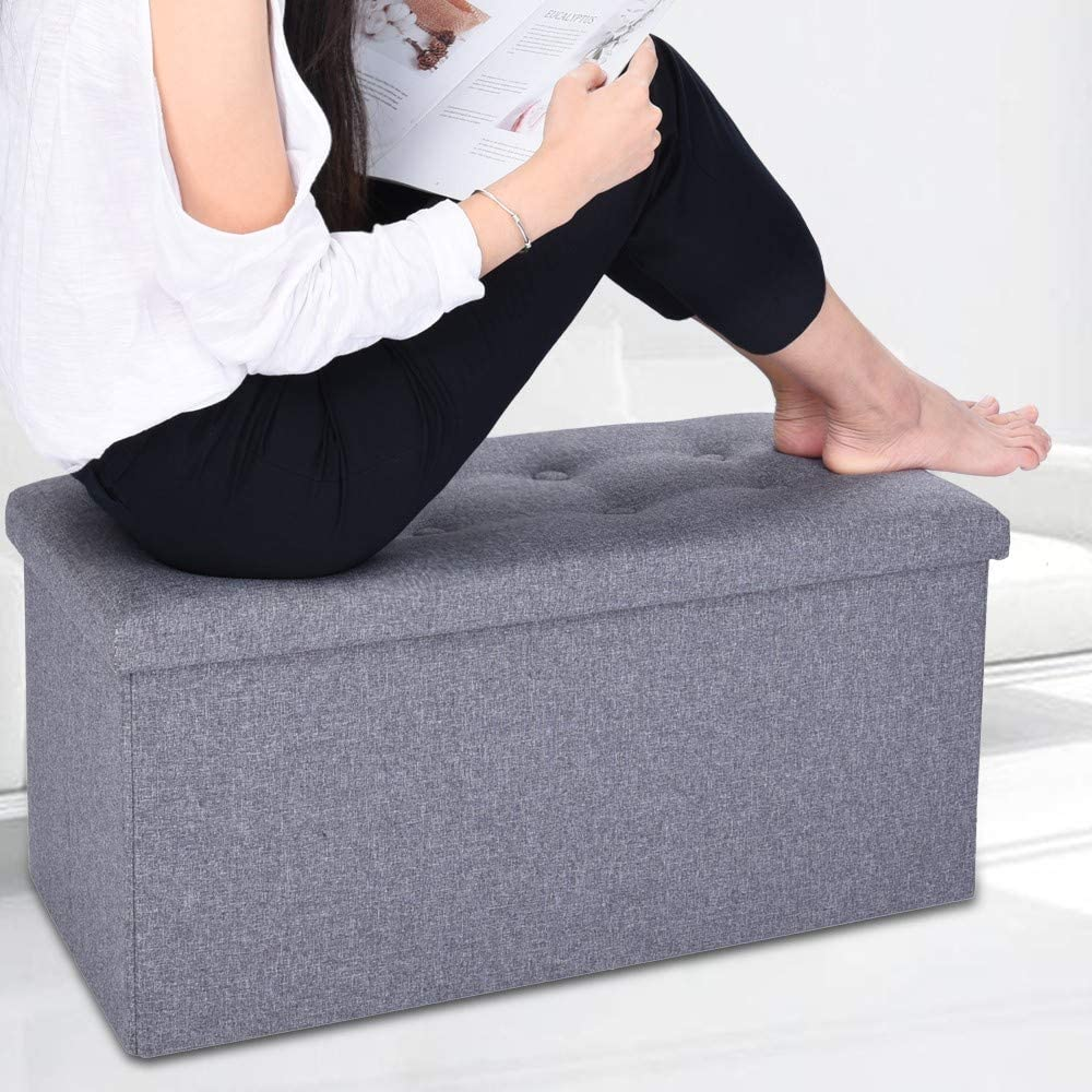 XGao Folding Ottoman Bench with Flipping Lid Fabric Storage Chest Footrest Storage Sofa Stool Bench Rectangle Stools with Removable Lid for Bedroom Hallway