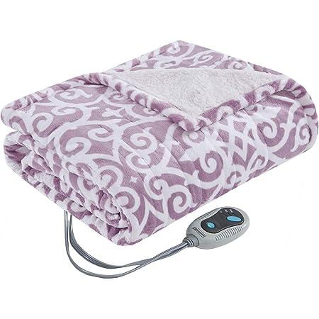 Beautyrest Ultra Soft Sherpa Berber Fleece Electric Poncho Wrap Blanket Heated Throw with Auto Shutoff, 50 in x 64 in (W x L), Lavender Lattice