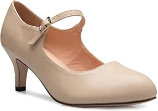 OLIVIA K Womens Classic Low Mid Heels Mary Jane Pumps - Adorable Round Toe Vintage Retro Shoes
