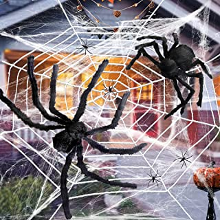 Atonofun Halloween Spider Web, 11.8ft Giant Round Spider Web with 2 Pack Giant Spider, 60g Stretch Cobwebs with 4 Mini Fak...