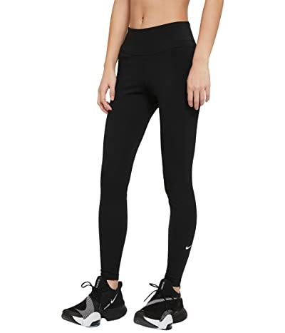 Nike One Mid-Rise Tights 2.0 (Sizes 1X-3X) (Black/White) Women