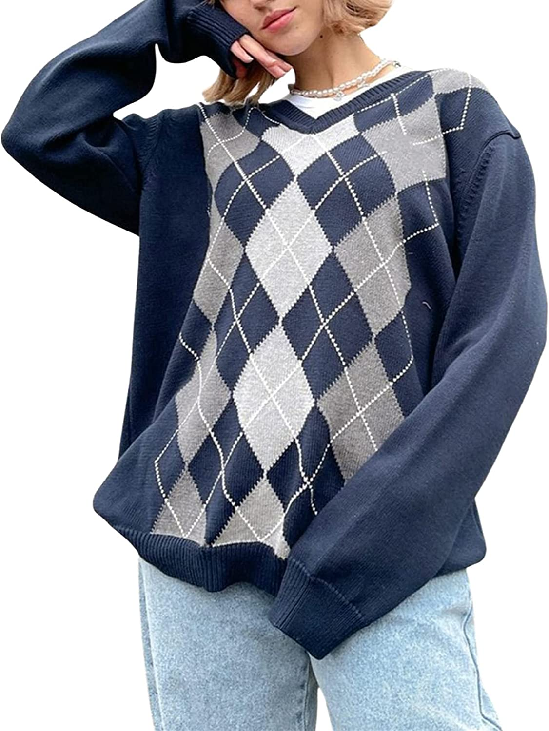 Women Y2K Argyle Inventory cleanup selling sale Plaid Sweater Pullover Sleeve Long Prepp Max 90% OFF V-Neck