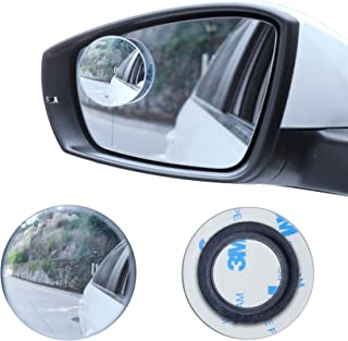 "LivTee Blind Spot Mirror, 2"" Round HD Glass Frameless Convex Rear View Mirror with wide angle Adjustable Stick for Cars SU..."