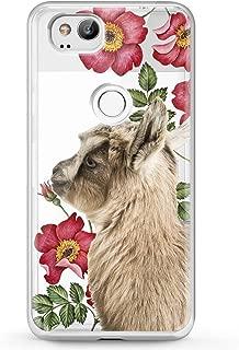 Cavka TPU Phone Case for Google Pixel 2 XL 3 XL 3a XL 4 XL New Cover 2019 Cute Clear Floral Phone Soft Print Baby Animals Teen Gift Girl Lightweight Goat Flexible Slim fit Smooth Pet Kawaii Design