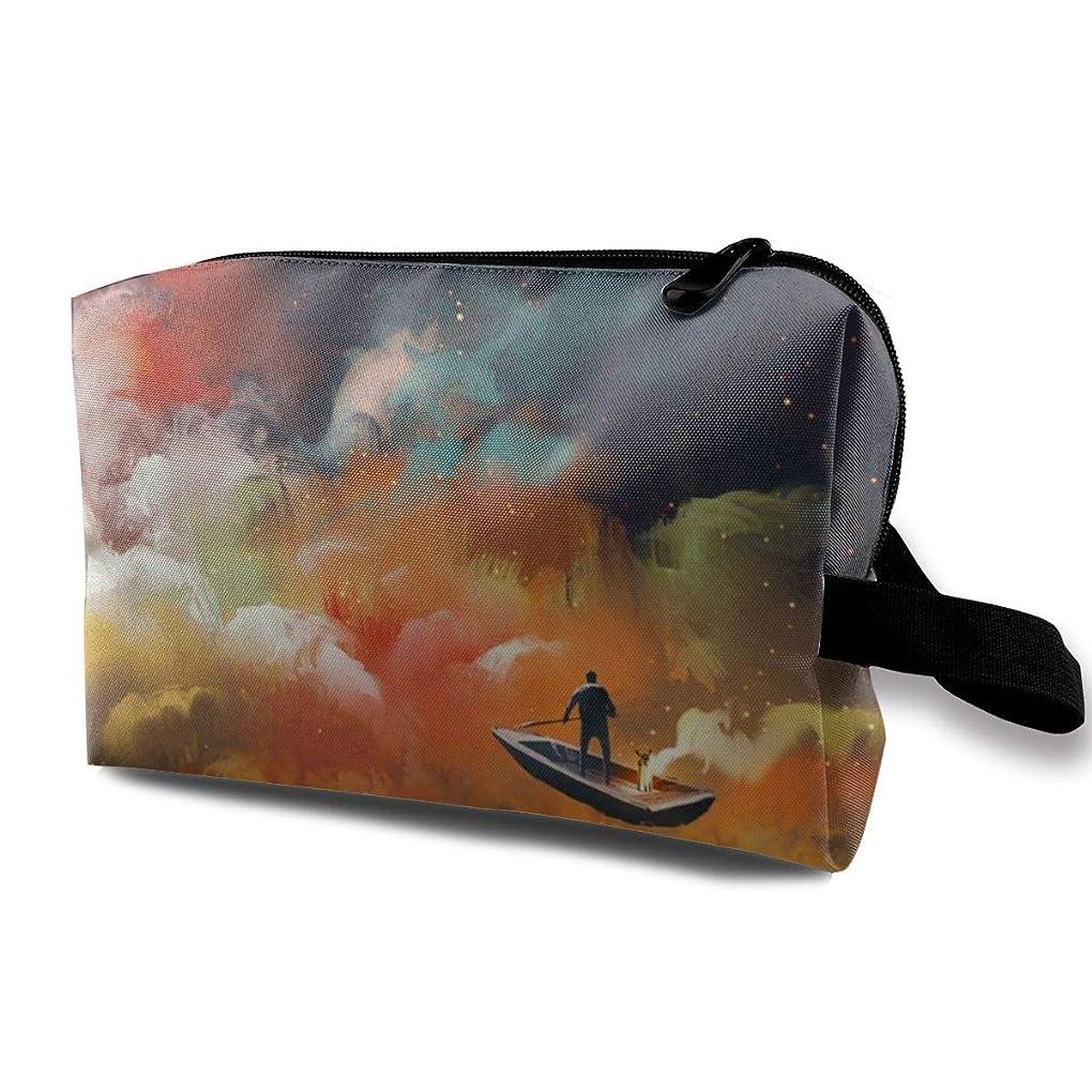 乗算小説ライバルカラフルな背景のボートの男 化粧バッグ 収納袋 女大容量 化粧品クラッチバッグ 収納 軽量 ウィンドジップ