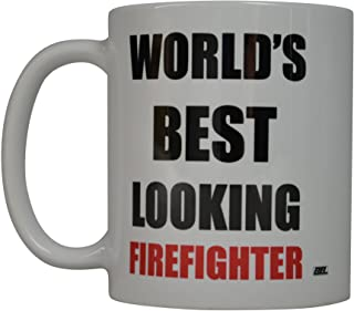 Rogue River Funny Coffee Mug World's Best Looking Firefighter Novelty Cup Great Gift Idea For Fire Fighter FD Fire Departm...