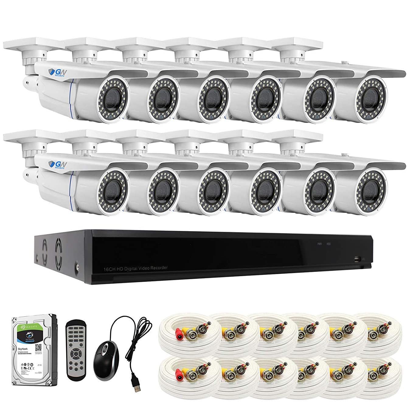【2019 New】 GW 16CH 4K DVR H.265 8MP Complete Security System with (12) x 4K 2160P Waterproof 2.8-12mm Varifocal Zoom Bullet CCTV Security Cameras, 196ft IR Night Vision, 8TB Hard Drive