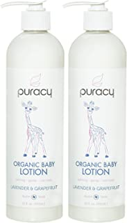 Puracy Organic Baby Lotion, Calming Natural Lavender & Grapefruit Moisturizer, 12 Ounce (2-Pack)