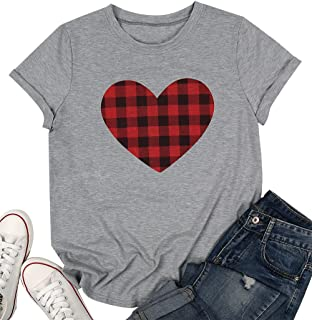 DUTUT Buffalo Plaid Heart Shirt Womens Valentines Day T Shirt Short Sleeve Cute Graphic Top Tee