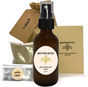 Bee Attracting Kit with Bee Attractant Lure, Pollinator Wildflower Mix, and Bee Mud Source Liner. Everything Included for a Successful Bee House. Mason Beekeeper Gifts. All Natural. 100% Safe for bees