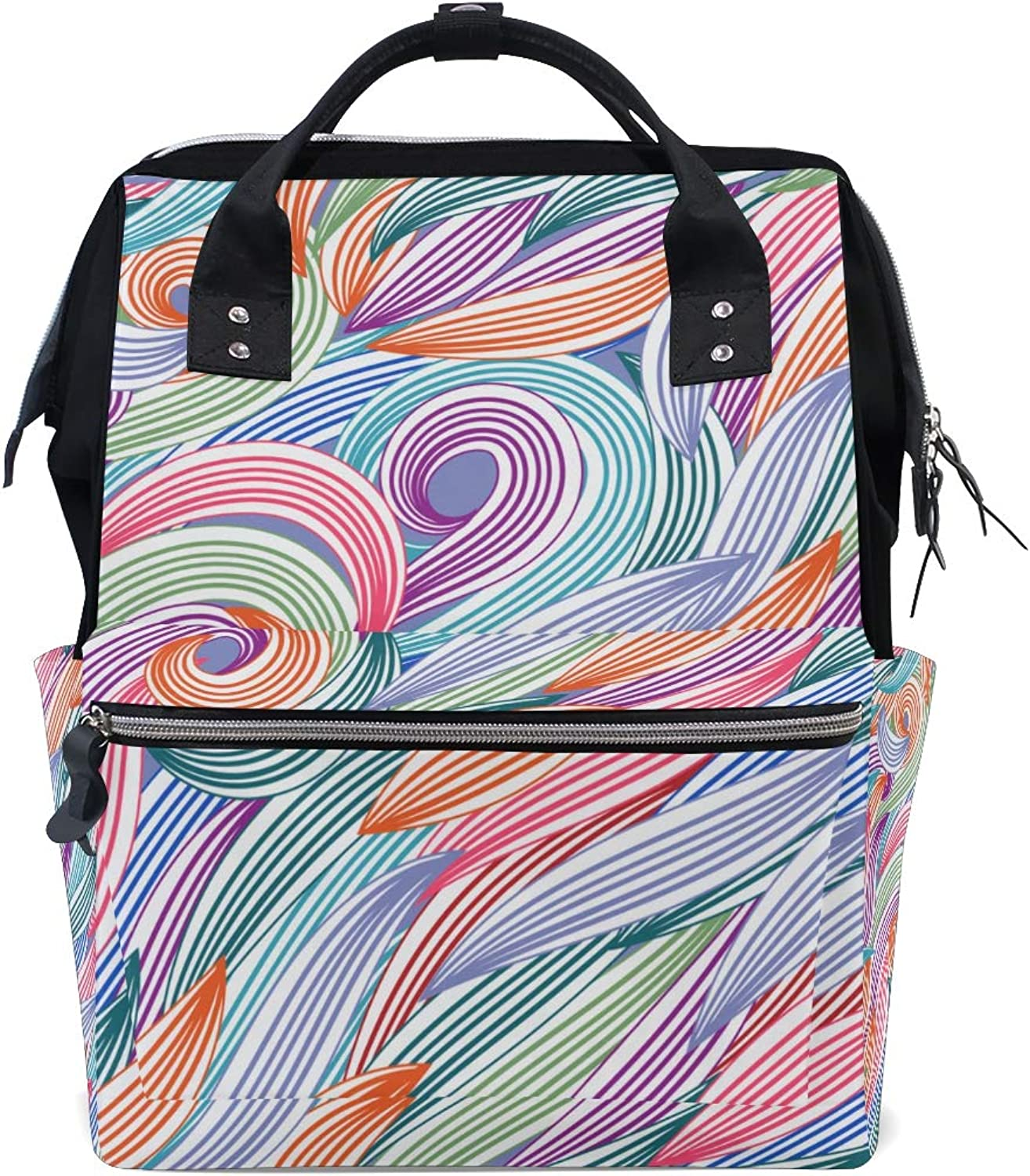 ColourLife Diaper bag Backpack Abstract Flame Tote Bag Casual Daypack Multifunctional Nappy Bags