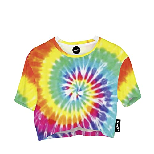 2286c566f3d Fringoo Girls Women's Cropped Baggy Oversize T-Shirt Festival Summer Crop  Top Party Fashion Jersey