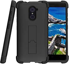 TurtleArmor | Compatible with ZTE Imperial Max Case | Max Duo | Grand X Max 2 [Grip Combat] Dual Hybrid Shock Resistant Armor Kickstand Defender Case Animal - Black