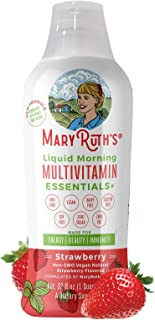 Morning Liquid Multivitamin + Zinc + Elderberry + Organic Whole Food Blend by MaryRuth's (Strawberry) Vitamin A B C D3 E T...