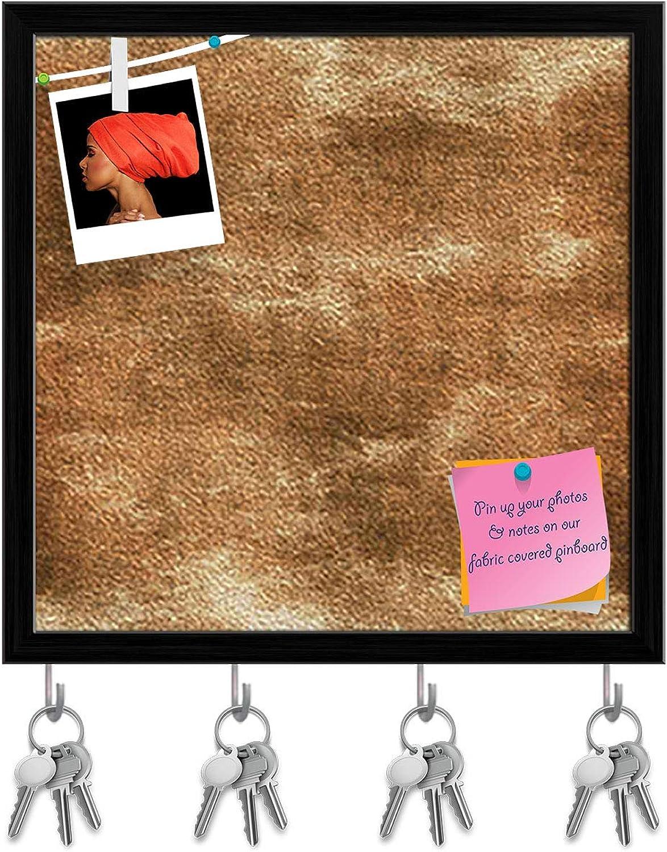Artzfolio Grunge Tile Key Holder Hooks   Notice Pin Board   Black Frame 20 X 20Inch