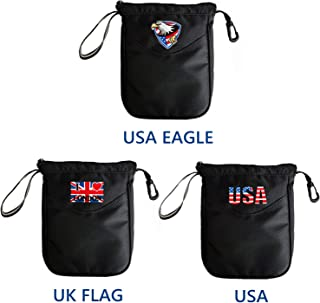 FINGER TEN Golf Pouch Bag Valuables Tee Clip Zipper Hook, with Free 4 Pcs Golf Pencil Value Pack, Travel Gear Style USA Eagle UK Flag