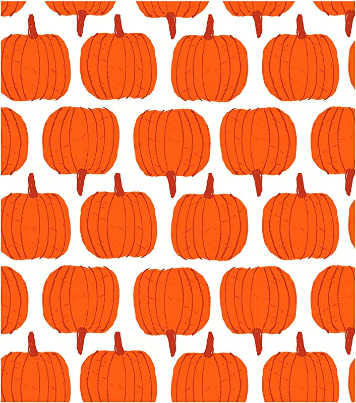 Simply Autumn Pumpkin Vinyl Tablecloth With Flannel Backing Thanksgiving Harvest Theme Eco Friendly PEVA Reusable Table Cloths For Fall 52 X 70 Rectangle