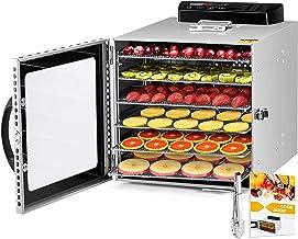Déshydrateur Alimentaire avec 6 Plateaux Inox, Desydratateur avec Minuteur (24H)+Température réglable (30 à 90°C)+Recette...