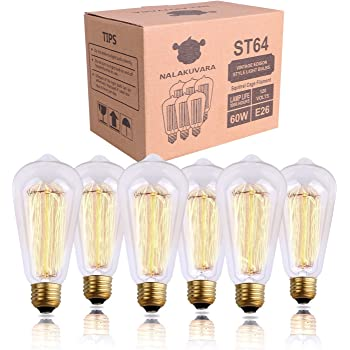NALAKUVARA Edison Light Bulb, Antique Style Amber Warm Light, Clear Glass Squirrel Cage Incandescent Lights, E26/E27 Base Dimmable (60w/110v), 6-Pack