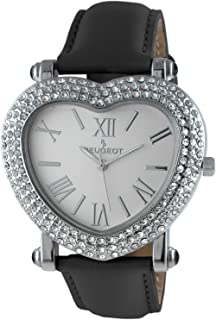 Peugeot Womens Heart Shaped Wrist Watch with Crystal Studded Case & Leather Strap
