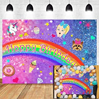 Photography Backdrops Rainbow Unicorn Happy Birthday Supplies Toddler Girls Pink and Blue Glittler Bokeh Sequin Photo Backgrounds Studio Props Children Party Banner Decoration Cake Table Vinyl 5x3ft