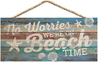 P. Graham Dunn No Worries On Beach Time Blue Lath Look 10 x 4.5 Wood Wall Hanging Plaque Sign