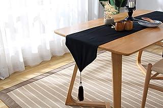 Beau Stripes Chemin de Table en Tissu avec Glands Décoration Salle for Le dîner fête de Mariage Noir Blanc pour la Maison...