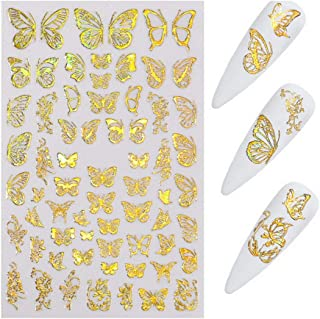 CCINEE Nail Art Adhesive Sticker Sheets Gold and Silver Color Butterfly Shapes Nail Art Decoration-1Sheet (Gold 2)