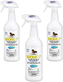 (3 Pack) Farnam Home and Garden Bronco Equine Spray with Citronella Scent, 32-Ounce