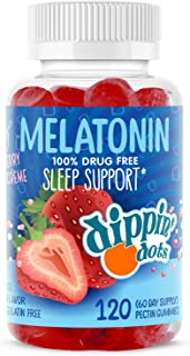 Dippin' Dots - Melatonin Sleep Support Gummies (120 Count) Strawberry Sunset Creme Flavor Chews | 2.5mg Per Serving Sleep ...