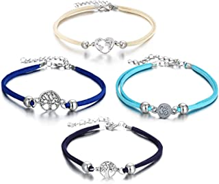 LAIMIO 4 Pcs Anklets Bracelet-Women Anklet Boho Beads Antique Silver Life Tree Anklets Foot Chain Beach Jewelry