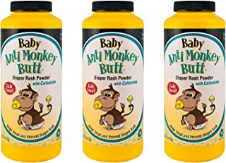 Anti Monkey Butt Baby Powder with Calamine | Prevents Diaper Rash and Absorbs Moisture | Talc Free | 6 Ounces | Pack of 3