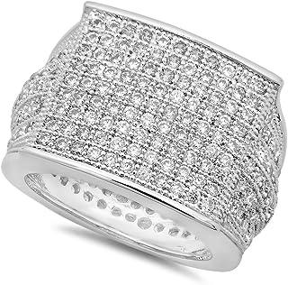 خاتم رجالي مربع الشكل مكعبة الشكل من الروديوم مطلي بالروديوم، مقاس 11 + قطعة قماش تلميع إضافية