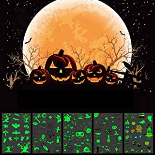 Kbnian Halloween Themed Temporary Tattoos Cute Glitter Fake Tattoos Sugar Skull Black Cat Zombie Spider Web Witch Tombstone Castle Grim Reaper Bat Pumpkin Small Tattoos for Kids Children [5 Sheets]