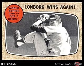1968 Topps # 155 A 1967 World Series - Game #5 - Lonborg Wins Again! Jim Lonborg St. Louis/Boston Cardinals/Red Sox (Baseball Card) Dean's Cards 4 - VG/EX Cardinals/Red Sox