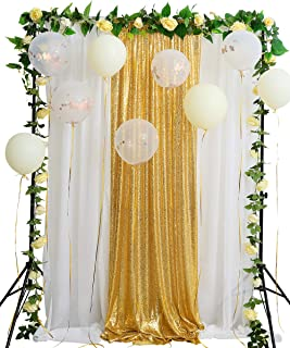 Gold Sequin Backdrop Curtain 8.8ftx8ft Sparkly Sequin Fabric and White Chiffon Backdrop for Wedding Party Stage Arch Decoration