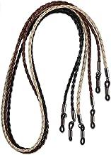 HANGIT, Elegant Eyeglass, Sunglass Strap-Chain- Retainer Braided, Sports Band, 3 Pack PU Leather For Men Women By HANGIT (beige black brown)