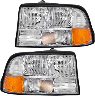 Headlights Headlamps Driver and Passenger Replacement for GMC Oldsmobile Pickup Truck SUV 16526227 16526228
