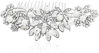 Women Fashion Wedding Bridal Hair Comb Pearl and Crystal,White 2