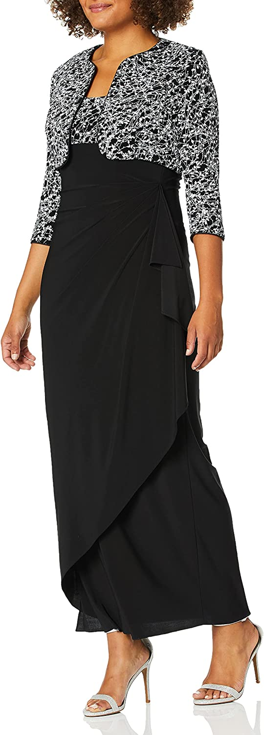 Alex Evenings Women's Empire Waist Dress with Side Ruched Skirt and Jacket