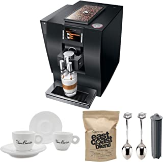 Jura 15182 Automatic Coffee Machine Z6, Aluminum Black Includes Filter, 2 Espresso Cups, 2 Demi Spoons and Coffee Beans Bundle (Renewed)
