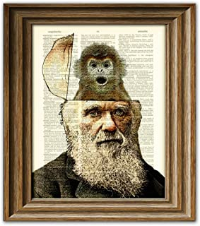 Charles Darwin has evolution and monkeys on the brain art beautifully upcycled dictionary page book art print