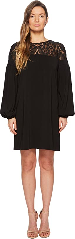 ML Monique Lhuillier Long Sleeve Lace Yoke Dress