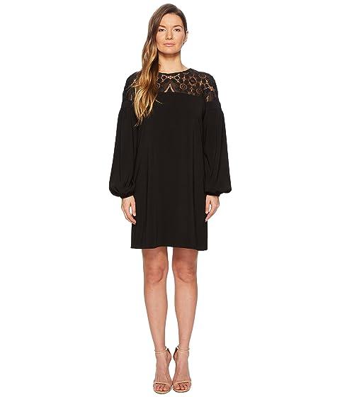 ML Monique Lhuillier Long Sleeve Lace Yoke Dress