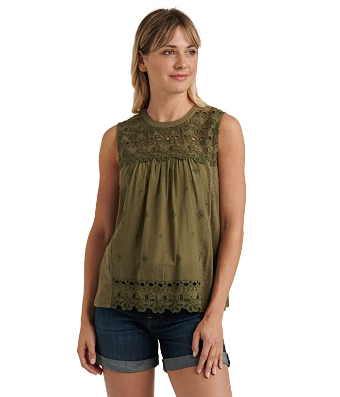 Lucky Brand  Sleeveless Crew Neck Embroidered Shiffly Top (Olivine) Womens Clothing