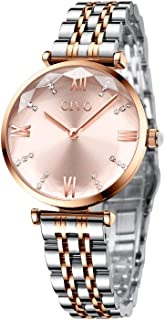Womens Quartz Watches Rose Gold Lady Waterproof Crystal Stainless Steel Dress Watch Fashion...